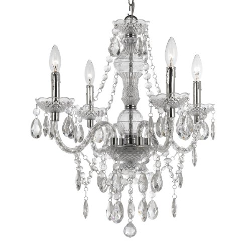 Kathy Kuo Home Zoe Global Bazaar Clear 4 Light Mini Chandelier