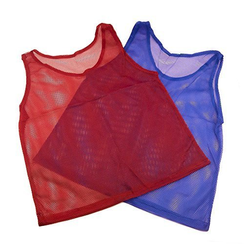 Adorox 12 Pack Youth Scrimmage Practice Jerseys Team Pinnies Sports Vest for Children Soccer, Football, Basketball, Volleyball (6 Blue and 6 Red)