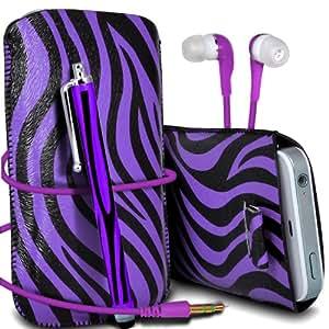 Nokia Lumia 700 Protección Premium de Zebra PU tracción Piel Tab Slip In Pouch Pocket Cordón piel cubierta de la caja de liberación rápida, Stylus Pen & 3.5MM auriculares auriculares auriculares Púrpura y Negro por Spyrox