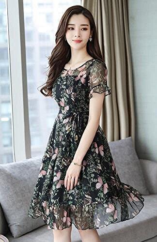 Blumen Ein Langes dünnes MoMo dünnes Weibliches Stiefmütterchen Druckkleid Sommer Wortrock 4WWqOB
