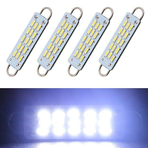 EverBrightt 4-Pack Cool White 44MM 4014 15SMD Rigid Loop LED Festoon Dome Light Auto Car Door Light Trunk Light Loop Light