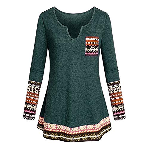 Seaintheson Women's Patchwork Tunic Tops Clearance, Casual V Neck Boho Long Sleeve Shirt with Pocket Blouse Pullover -