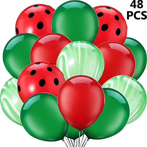 48 Pieces Red Watermelon Inspired Latex Balloons, One in A Melon Themed Decorations Watermelon Balloons for 1st Birthday Party Supplies, Baby Shower, Agate and Red Polka Dot (Color B) (Watermelon Inflate)