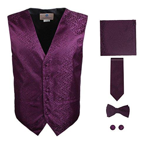 - Y&G VS1008-L Purple Pattern Vest Mens Best Gift Tie Cufflink Hanky Bowtie