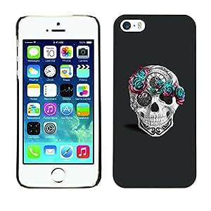 GOODTHINGS Funda Imagen Diseño Carcasa Tapa Trasera Negro Cover Skin Case para Apple Iphone 5 / 5S - flores rosa teal tiempo blanco gris