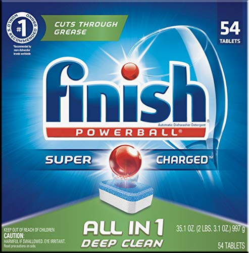 Finish All in 1 Powerball Fresh, 54ct, Dishwasher Detergent Tablets, 4-Pack
