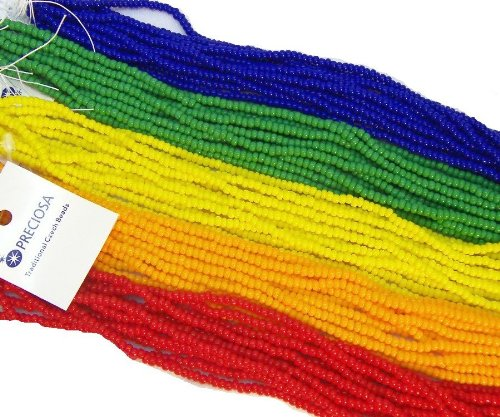 Czech 8/0 Glass Seed Beads Opaque Rainbow Mix 5 Hank Mix Preciosa Jablonex (Czech Opaque Red Seed)