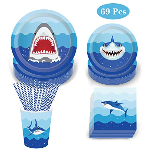 Shark Plates And Napkins (69 Pack Shark Disposable Tableware, DreamJ Shark Party Supplies with Shark Plates,Napkins, Cups and Straws for 8 Guests Kids Ocean, Nautical Shark Themed)