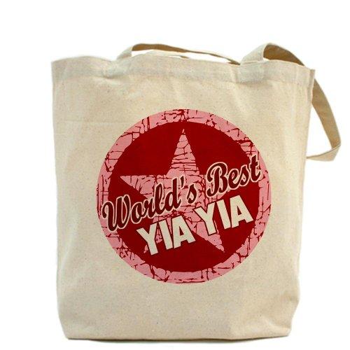 CafePress–Worlds Best Yia Yia–Borsa di tela naturale, panno borsa per la spesa