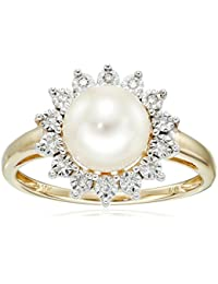 10k Yellow Gold Lady Di Freshwater Cultured Pearl and Diamond Ring