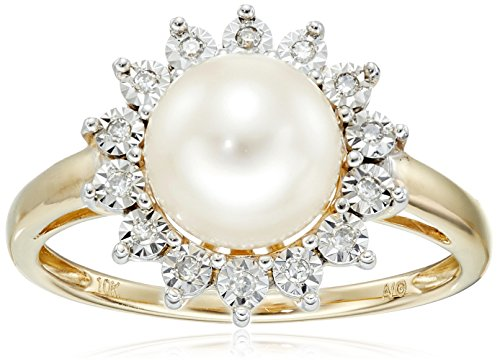 10k Yellow Gold Lady Di 8mm Freshwater Cultured Pearl and Diamond Ring, Size 7 (Rings Pearl Unique)