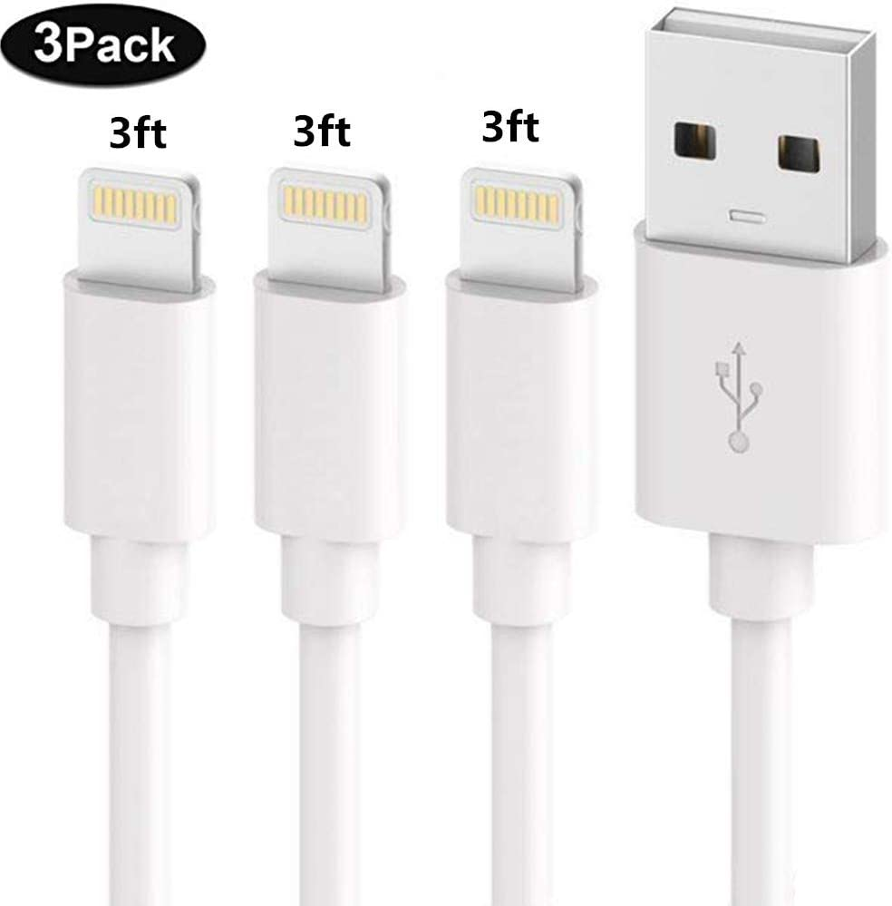 SHARLLEN iPhone Charger Cable (3 Pack 3FT) Fast USB iPhone Charging Cable Long Cord Compatible iPhone XS/Max/XR/X/8/8 Plus/7/7 Plus/6/6 Plus/6S/6S Plus More (White)