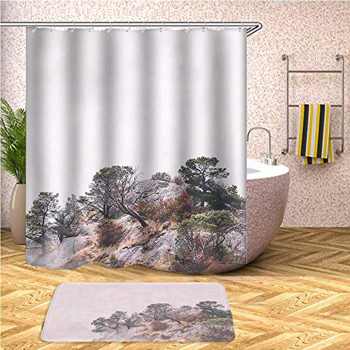398 Matt - GIRLSIGHT Pretty Cool Shower Curtain Safari Set, Waterproof Bathroom Decor Polyester Fabric 70 x 79 Inches with Hooks and Anti-Slip 40 x 60cm Bath Mat-398.Trees on Mountain Cliff Surrounded by Fogs