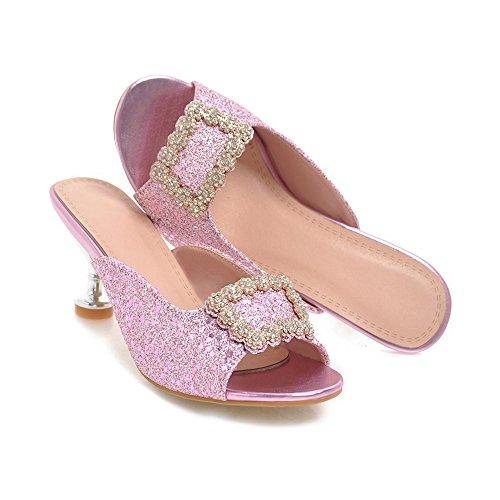 Große KUKI Einförmige High Größe Damen Weibliche Hausschuhe Damen Schnallen Heel Sandalen Pantoffeln Strass High Drucken Sandalen Heels Quadratische Red wwRr7Bq