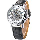 Mix&Rock NA ver Hollow Transparent Blue Hand-winding Skeleton Steampunk Silver Steel Case Mechanical Black Leather Strap Mens Sport Wrist Watch Gift
