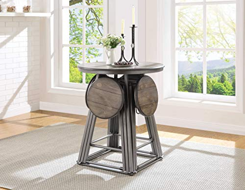 HomeRoots 5 Piece Counter Height Set in Gray Oak and Bronze - Pine Wood Veneer, MDF, Steel