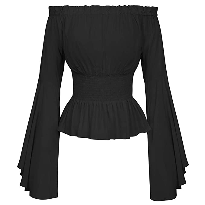 Amazon.com: Nicetage - Blusa de manga larga con hombros ...