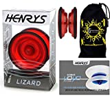 Henrys LIZARD YoYo (Red) Professional Entry-Level YoYo +Instructional Booklet of Tricks & Travel Bag! Pro YoYos For Kids and Adults!