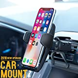 Car Mount/Car Phone Mount, PATEA Car Holder/Phone Mount For Universal Car Cradle Mount with Gravity Self-locking One-Touch Design and Anti-skid Base for iPhone X/8/7Plus, Google, Galaxy S8, LG etc