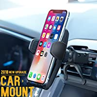 Car Mount / Car Phone Mount, PATEA Car Holder / Phone Mount For Universal Car Cradle Mount with Gravity Self-locking One-Touch Design and Anti-skid Base for iPhone X/8/7Plus, Google, Galaxy S8, LG etc