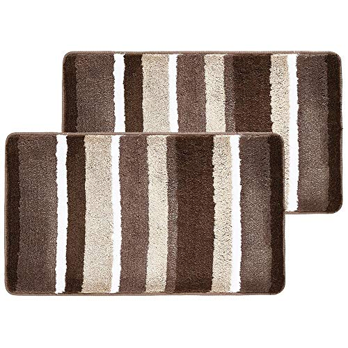 Brown Striped Rug - mDesign Soft Microfiber Polyester Non-Slip Spa Mat, Plush Water Absorbent Accent Rug for Bathroom Vanity, Bathtub/Shower - Machine Washable, Striped Design, 34