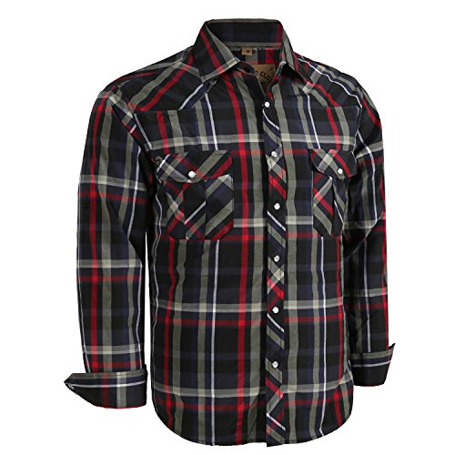 Coevals Club Men's Long Sleeve Casual Western Plaid Snap Buttons Shirt (XL,6#balck,red)
