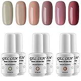 la colors gel like nail polish - Gellen UV Gel Nail Polish Kit - Popular Nude Colors Collection, Pack of 6 Colors 2017 New Arrivial Set