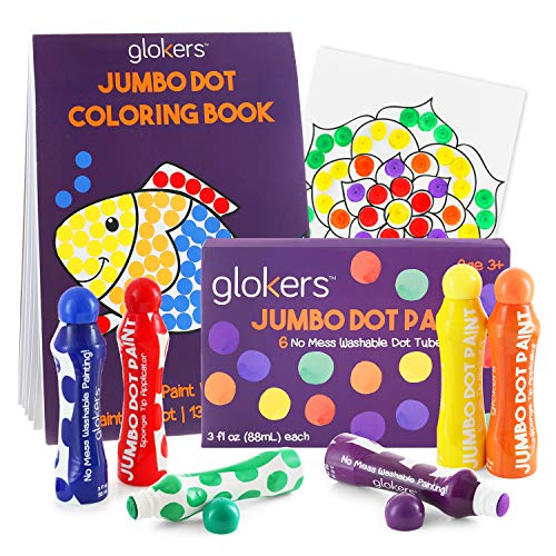glokers Jumbo Washable Dot Paint Markers and Coloring Book Bundle | 6-Colors | Washable, No Mess Children Educational Art Supplies | Preschool Art Dobber Dabbers + 25-Page Interactive Activity Book