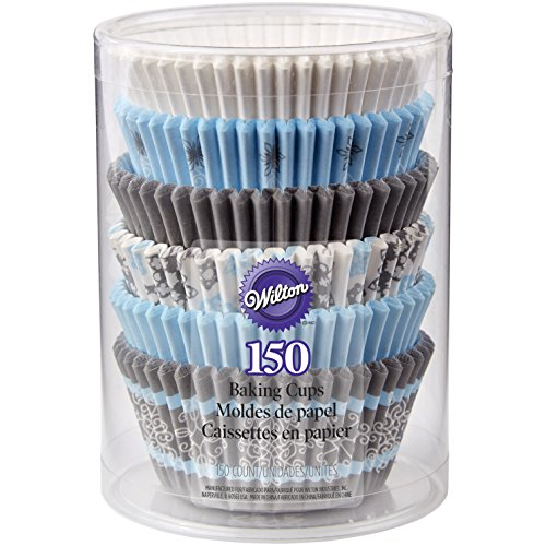 Snowflake Cupcake Liners 150 Count Blue and Grey
