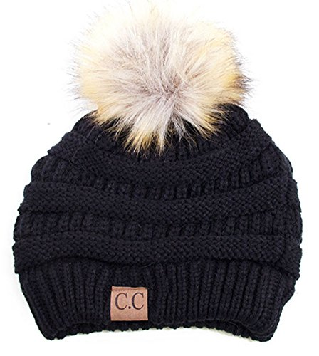 - Soft Stretch Cable Knit Ribbed Faux Fur Pom Pom Beanie Hat (Black)