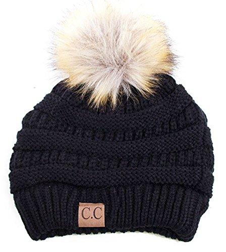 Soft Stretch Cable Knit Ribbed Faux Fur Pom Pom Beanie Hat (Black)