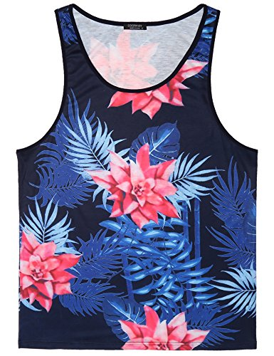 COOFANDY Mens Floral Sleeveless Tees All Over Print Casual Tank Top T-Shirts,Navy Blue,Medium