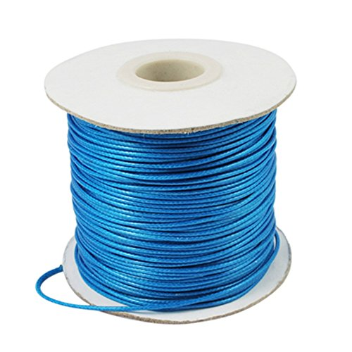 Waxed Polyester (Pandahall 1mm Jewelry Making Crafting Waxed Polyester Beading Cord 93Yards/roll (Deep SkyBlue))
