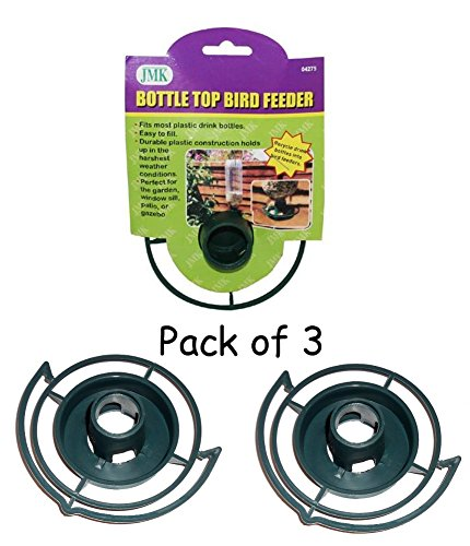 Bird Feeder Bottle (Easy to Make your Own - recycle empty SODA pop Bottle Top BIRD FEEDER (Green - Pack of 3))