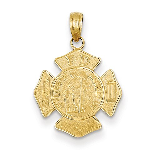 Jewelry Stores Network 14k Yellow Gold Small Saint Florian Firefighter Badge Medal Pendant (14k Firefighter Pendant)