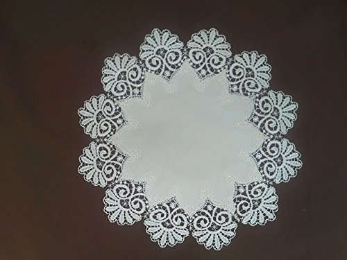 Round Doily or Place Mat in Bleached White Fancy Lace and Bleached White abric, Size 18 inches ()