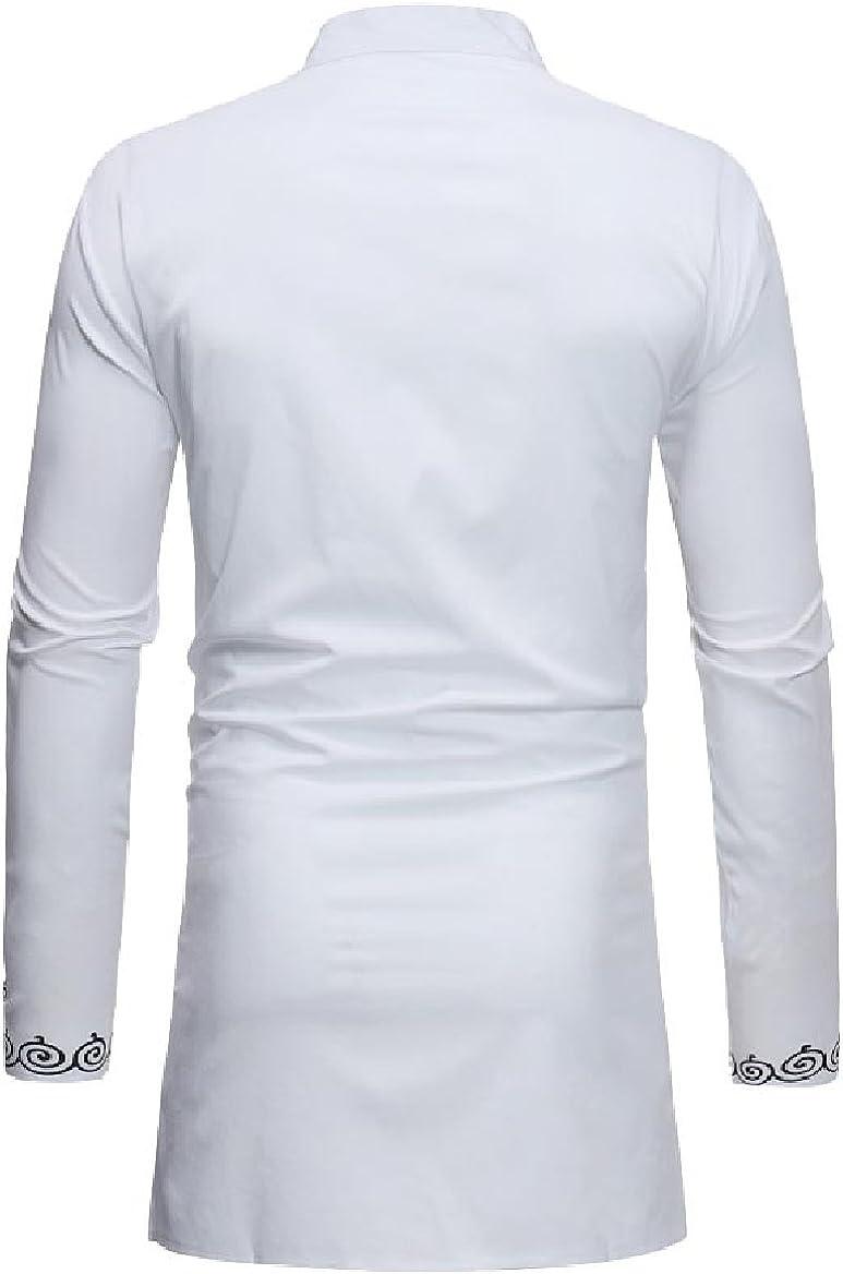 HEFASDM Mens Basic Style African Dashiki Stand Up Collar Shirts
