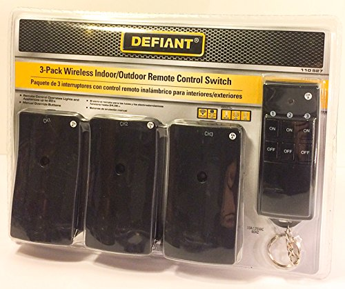 Holiday 3-Pack Wireless Indoor Outdoor Lighting Remote Control Switch Security (Select one Channel A-F)