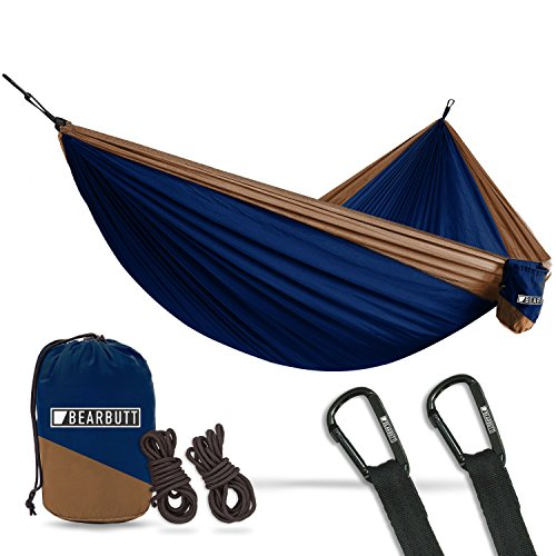 Bear Butt Lightweight Double Camping Parachute Hammock-Large, Portable Two-Person Hammock for Hiking & Backpacking - 16 colors available (Dark Blue/Beige) ()