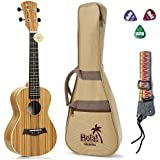 Concert Ukulele Bundle Deluxe Series by Hola! Music (Model HM-124ZW+), Bundle Includes: 24 Inch Zebrawood Ukulele with Aquila Nylgut Strings Installed, Padded Gig Bag, Strap and Picks