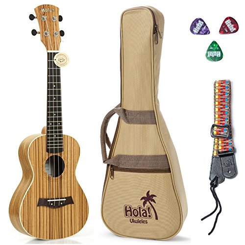 Concert Ukulele Deluxe Series by Hola! Music (Model HM-124ZW+), Bundle Includes: 24 Inch Zebrawood Ukulele with Aquila Nylgut Strings Installed, Padded Gig Bag, Strap and Picks