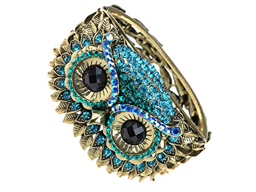 Alilang Womens Antique Gold Tone Owl Bird Face Crystal Rhinestone Costume Cuff Bangle Bracelet ()