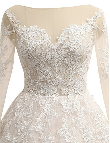 Erosebridal Hochzeitskleider Prinzessin Spitze Langarm Brautkleider Weiß rxv1rwqO