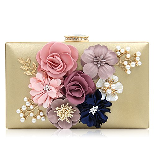 Milisente Women Flower Clutches Evening Bags Handbags Wedding Clutch Purse (Gold) Evening Clutch