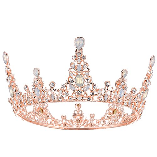 - S SNUOY Rose Gold Bridal Wedding Crown Full Round Rhinestone Tiara Baroque Prom Headband for Women