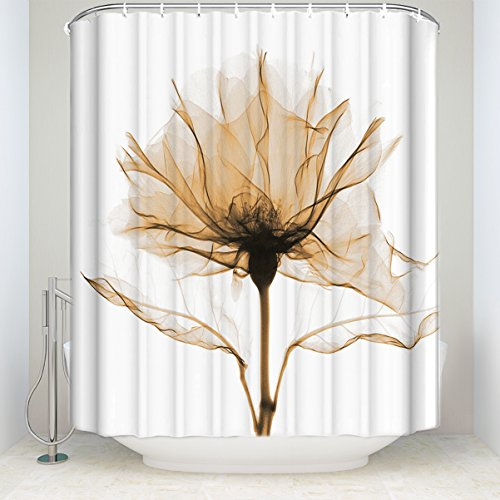 Yellow Rose Flowers Florals Polyester Fabric Shower Curtains Designer Decorative Bathroom Curtains(72