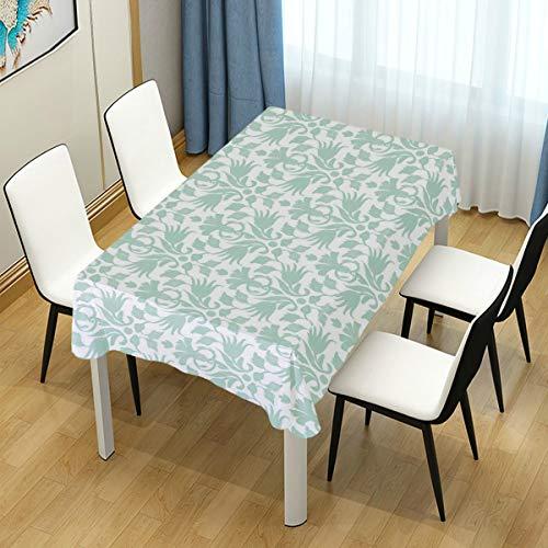CHASOEA Decor Tablecloth Aqua Wave Like Round Swirls Print 54