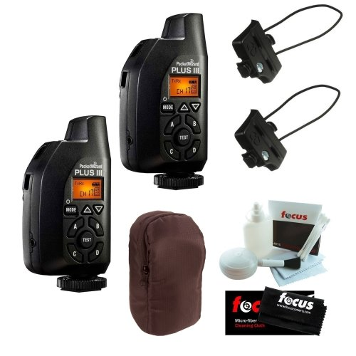 PocketWizard Plus III Transceivers (801-130), 2-Pack for Remote Flash Triggering, + 2x Transceiver Caddy + Case + Cleaning Kit Pro Bundle by Pocket Wizard