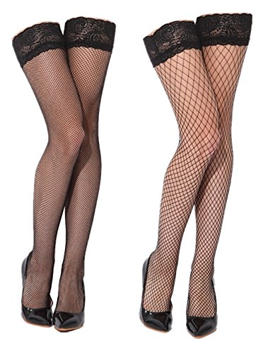 Womens Black Sheer Thigh High Fishnet Stockings with Silicone Lace Top 2 Pairs -
