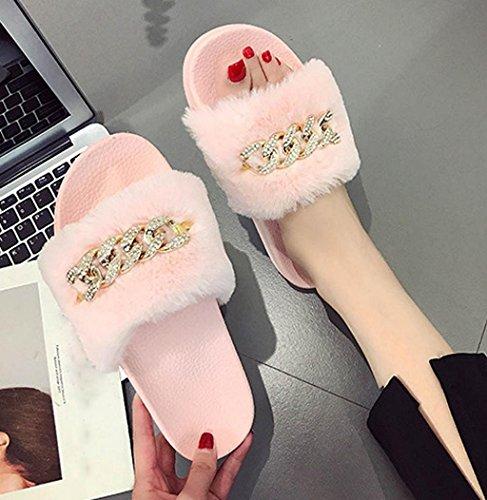 Vendita Calda! Slippers Donna Sagton Lanuginosa Scarpetta Piatta In Pelliccia Sintetica Soffice Pantofola Piatta In Pelliccia Aperta Metallizzata Sandalo Open Toe Rosa